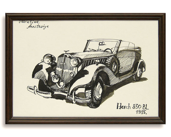 570x456 Classic Car Drawing Horch 830 Bl 1935 Original By Valartgallery