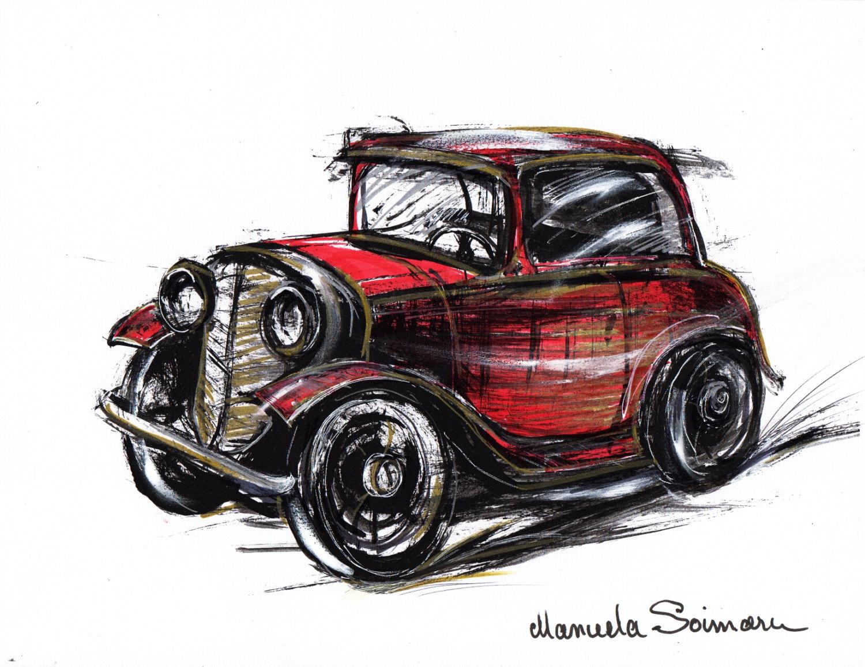 1500x1156 Classic Car Illustration Drawing Original Art Print Car