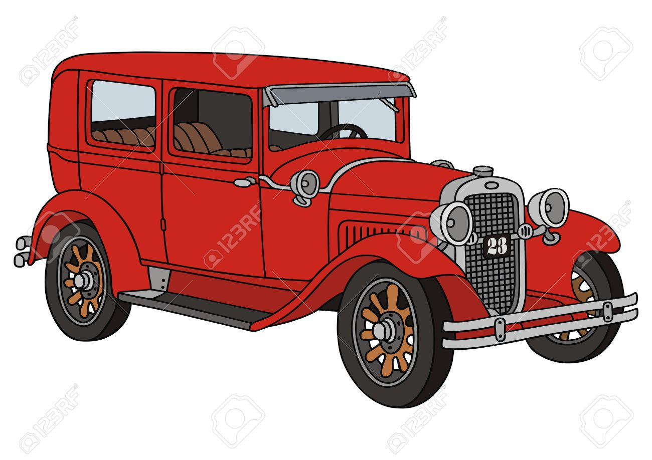 1300x918 Hand Drawing Of A Classic Car Royalty Free Cliparts, Vectors,