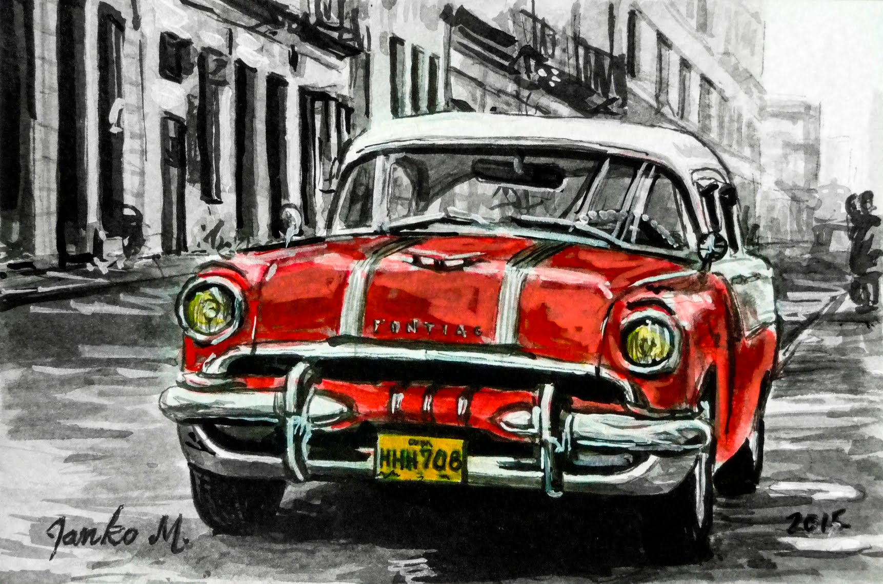 1722x1140 Old Car Cuba Drawing With Pen And Ink