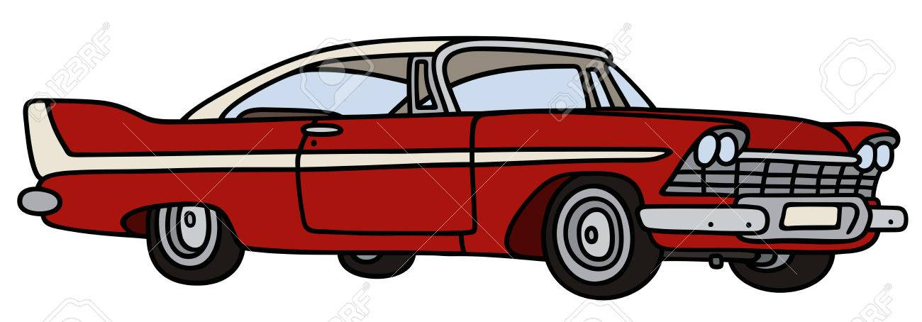 1300x454 Hand Drawing Of A Classic Big American Car Royalty Free Cliparts