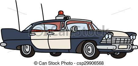 450x214 Old Police Car. Hand Drawing Of A Classic Big American Clip Art