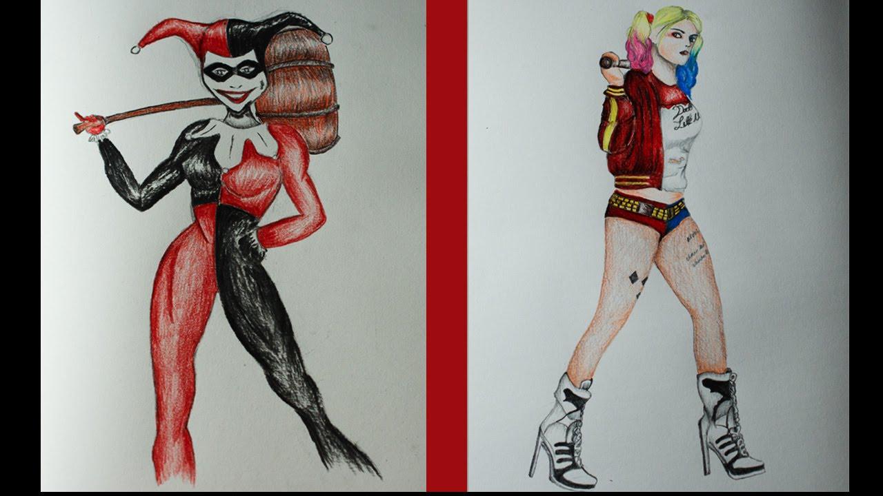 1280x720 Drawing Harley Quinn Classic + Margot Robbie