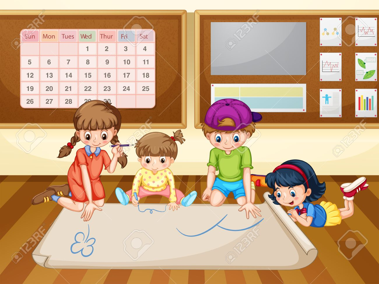 1300x975 Children Drawing On Paper In Classroom Illustration Royalty Free