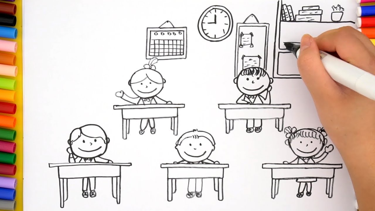1280x720 How To Draw Classroom For Kids