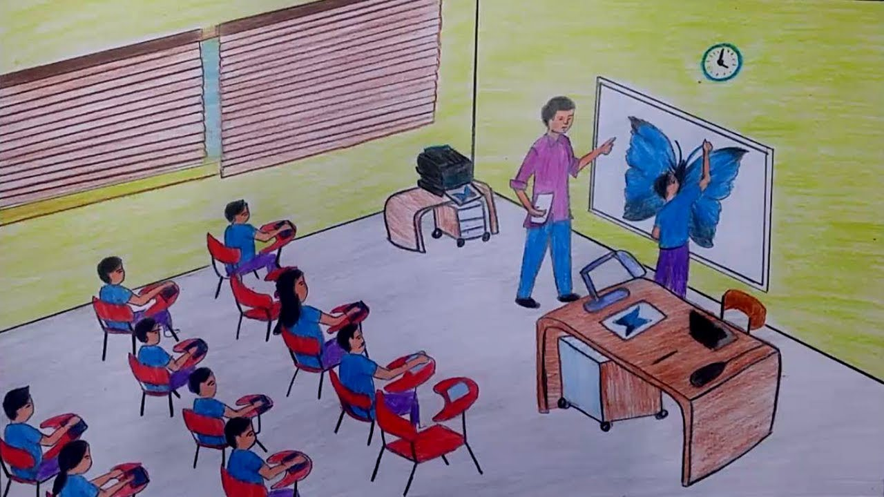 1280x720 How To Draw A Drawing Classroom With Oil Pastels And Colour