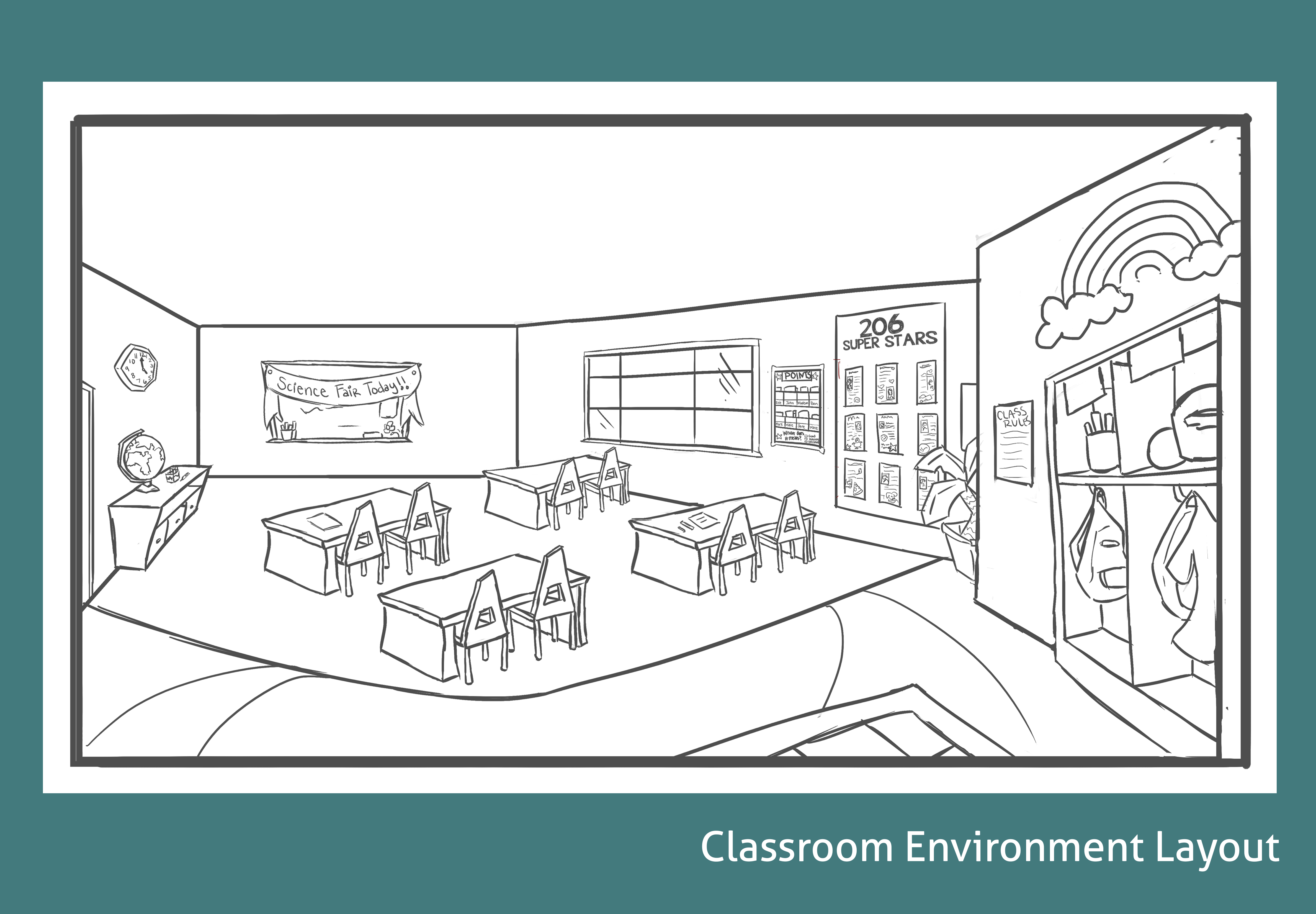 4753x3300 Science Classroom Layout Lineart Melissa's Sketchbook