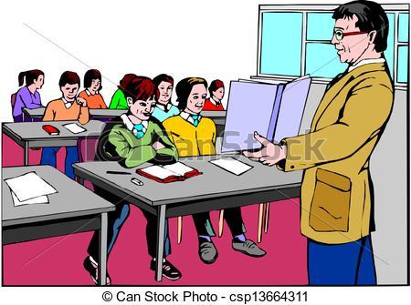 450x335 Teacher In Classroom Vector Clip Art