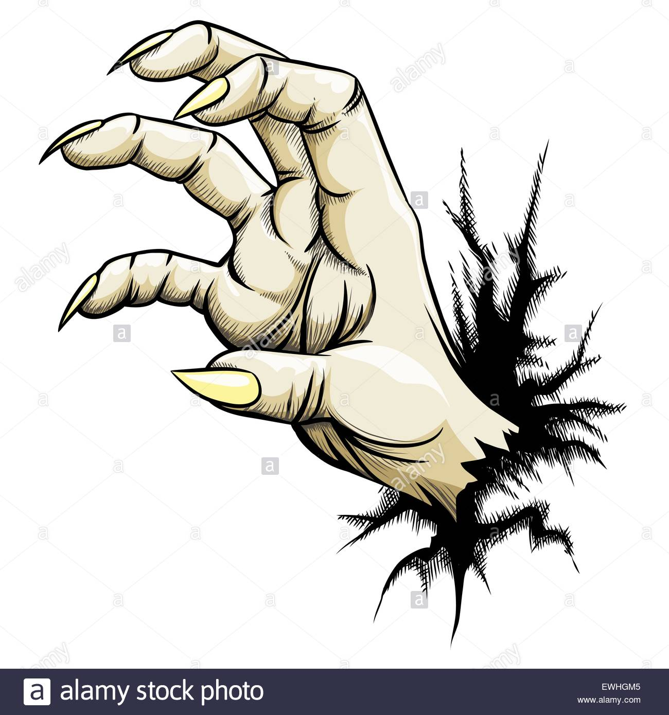 1300x1390 Grabbing Hand With Claws Raised Out Of Fracture. Hand Draw Style