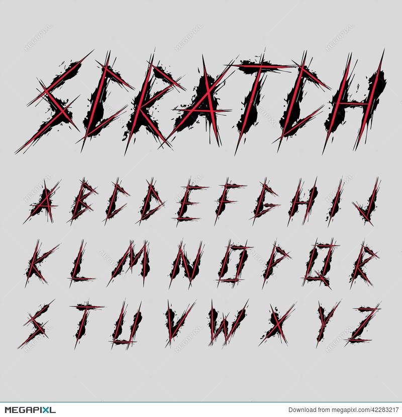 800x830 Scratch Font Typeface Design Vector Illustration 42283217