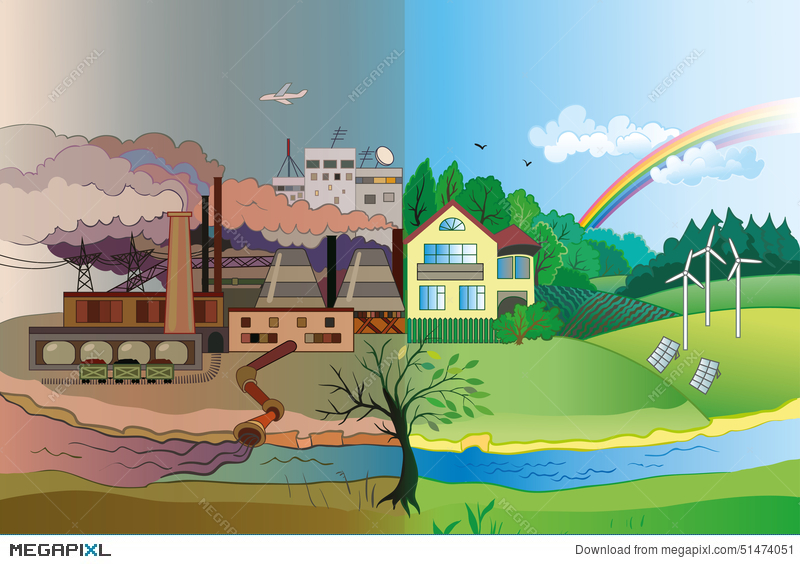 800x564 Environmental Pollution And Environment Protection Illustration