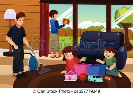 450x319 A Vector Illustration Of Whole Family Cleaning House Eps Vector
