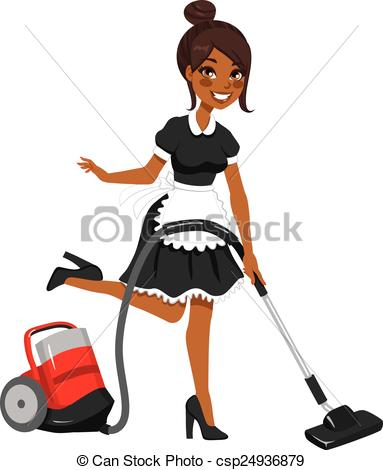 383x470 African American Maid Vacuum Cleaner. Beautiful African Vectors