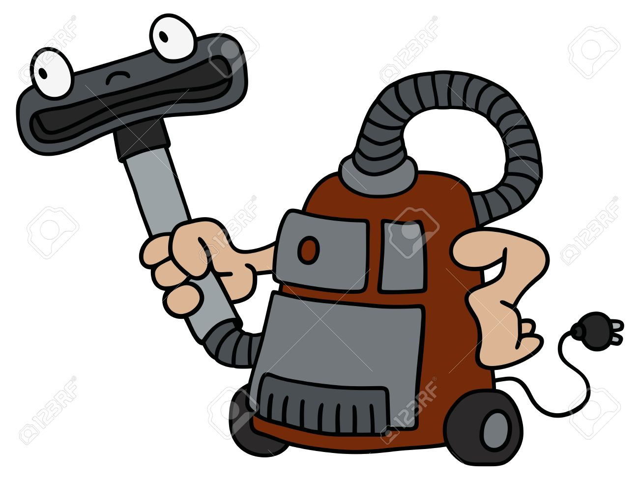 1300x975 Hand Drawing Of A Funny Vacuum Cleaner Royalty Free Cliparts