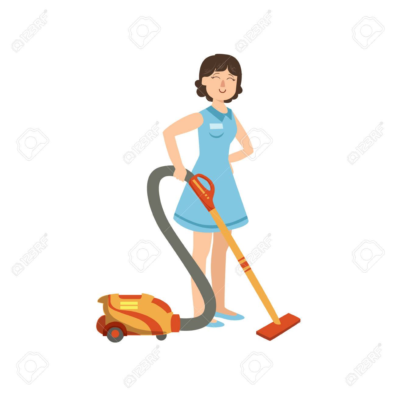 1300x1300 Hotel Professional Maid Cleaning The Floor Illustration. Cleaning