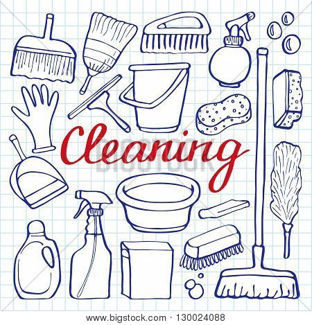 450x469 Cleaning Tools Set. Hand Drawn Vector Amp Photo Bigstock