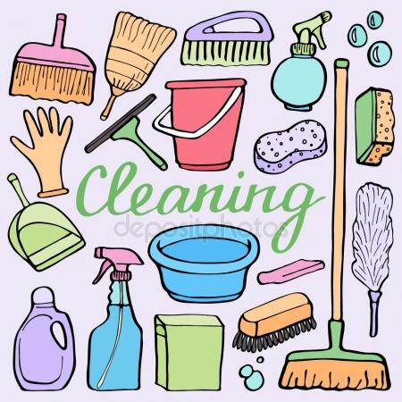 450x450 Cleaning Tools Set. Hand Drawn Cartoon Collection Of House