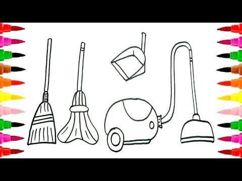 480x360 How To Draw And Coloring Pages Set Of House Cleaning For Girls