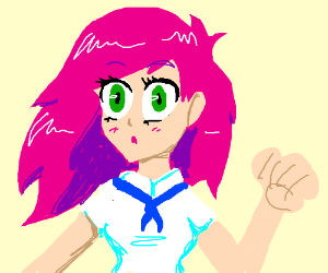 300x250 Anime Girl With Badly Drawn Clenched Fist