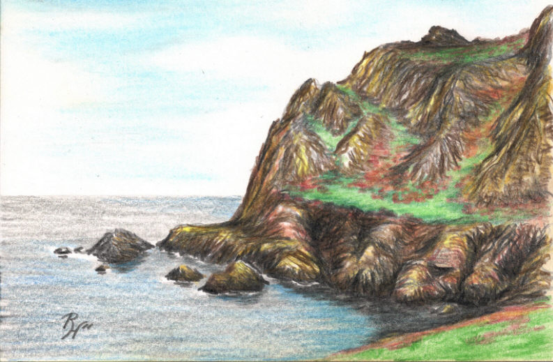 793x519 Prawle Point Cliffs Drawing In Coloured Pencil Contemporary