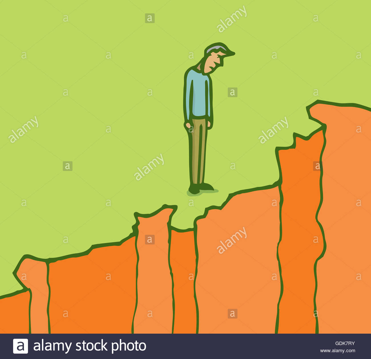 1300x1260 Cartoon Illustration Pensive Man Looking Down On The Edge