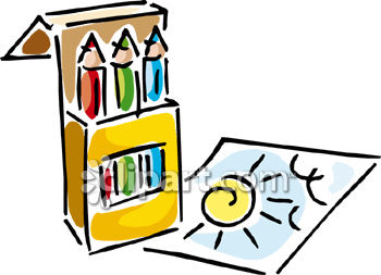 350x253 Clipart Picture Of A Drawing Of A Sun And A Box Of Crayons