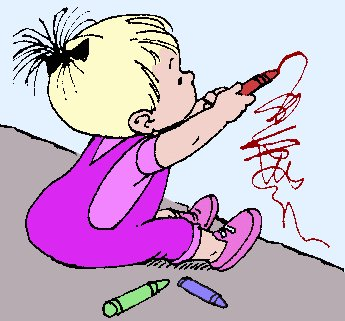 345x321 Free Kid Drawing On Wall Clipart