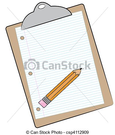 401x470 Clipboard With Pencil And Lined Paper Attached R Stock