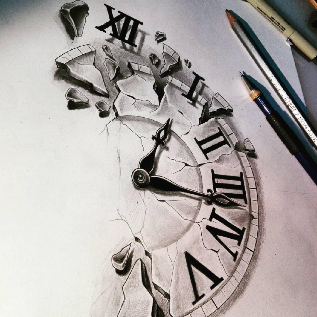 1080x1080 Broken Clock Drawing Tattoo Clipart Sketch