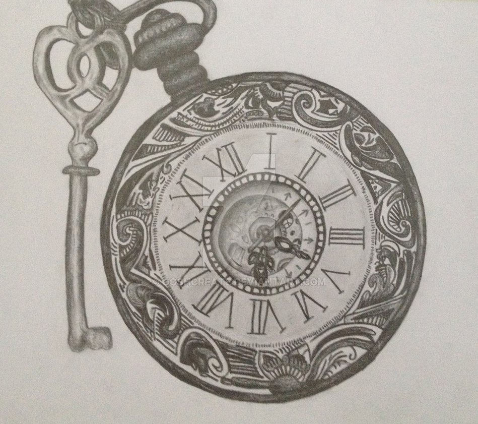 949x841 Pencil Drawing Of A Clock By Goshcreate