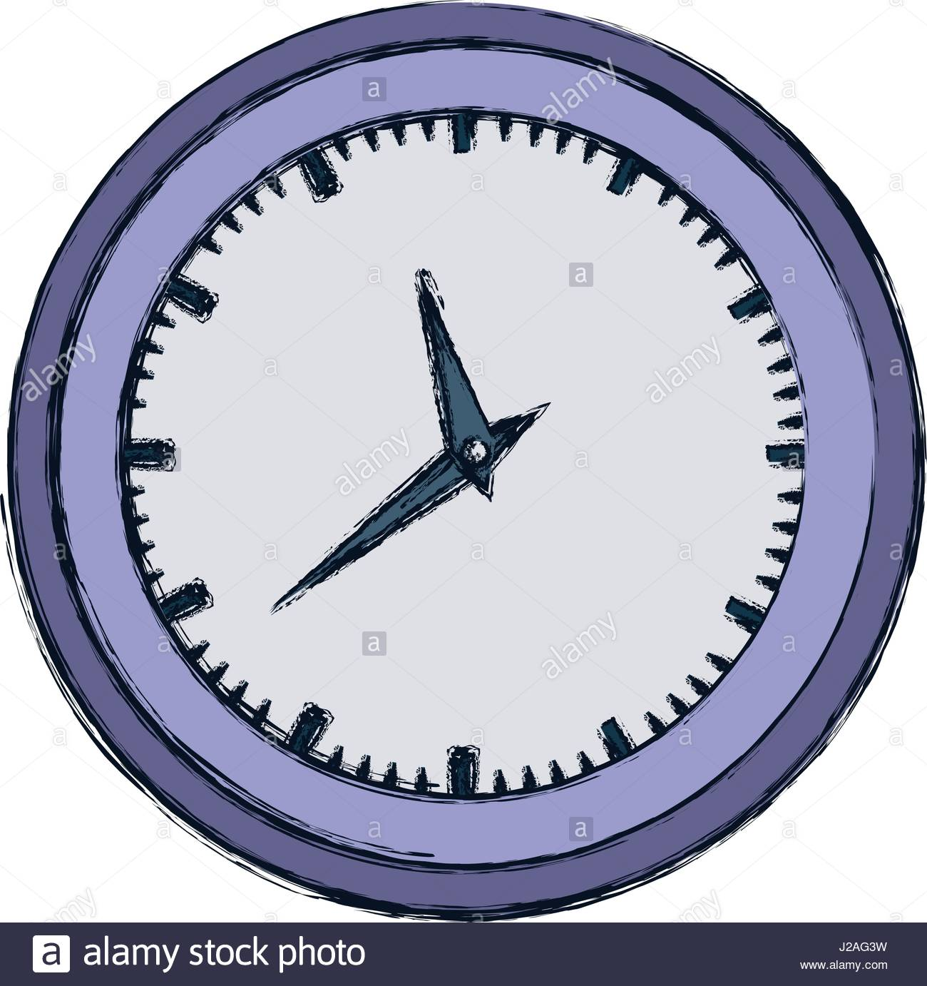 1300x1382 Hand Drawing Color Wall Clock In Purple Thick Contour Stock Vector