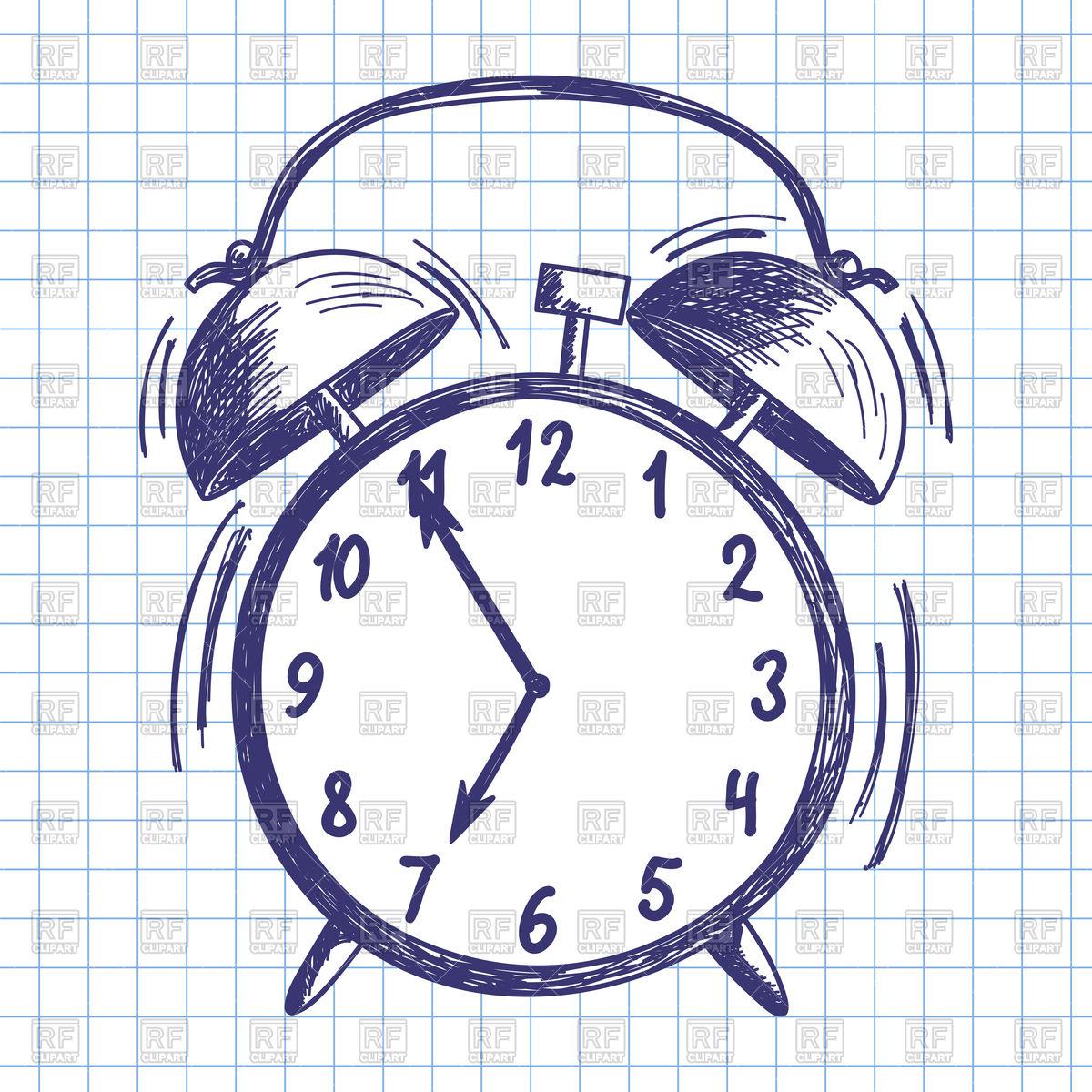 1200x1200 Doodle Drawing Alarm Clock Royalty Free Vector Clip Art Image