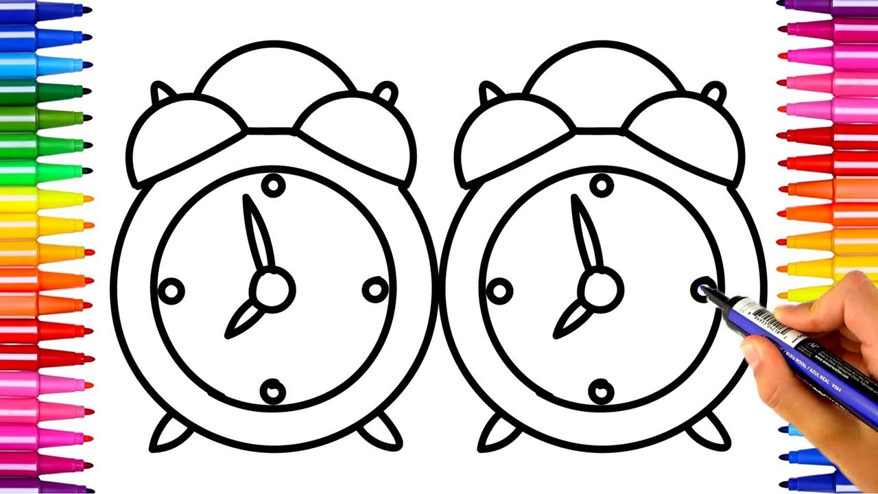 1280x720 How To Draw Clock Alarm Clock Drawing And Coloring Pages Kids