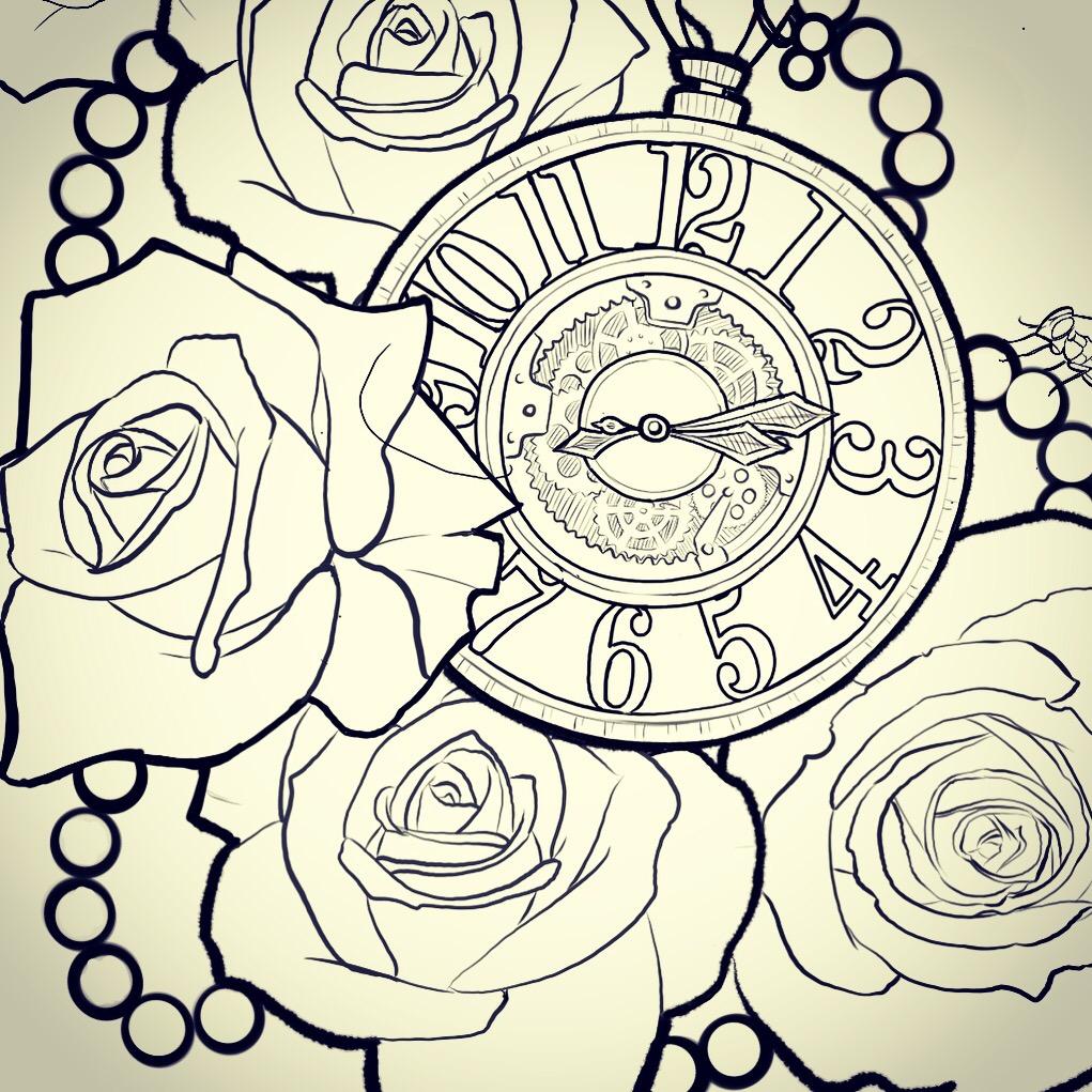 1021x1021 Rose Amp Clock Tattoo Preperation Michael Medina Art