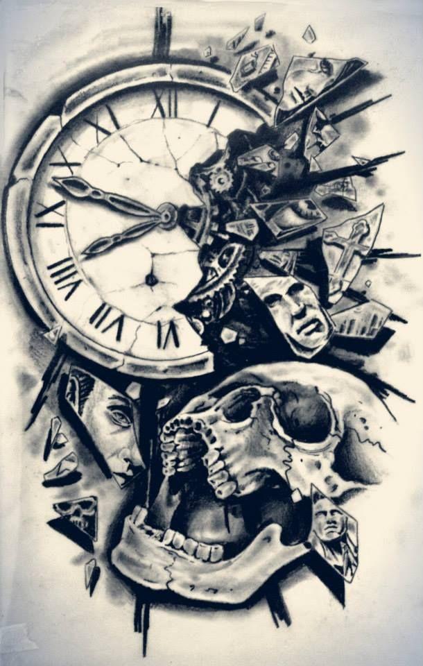 610x960 Skull And Broken Clock Tattoo Design Tattoo Ideas