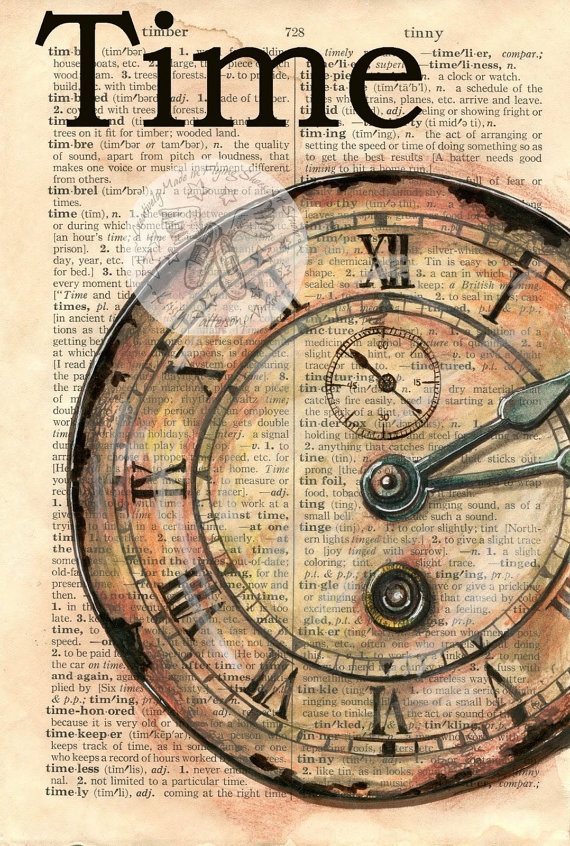 570x846 Print Clock Face Time Mixed Media Drawing