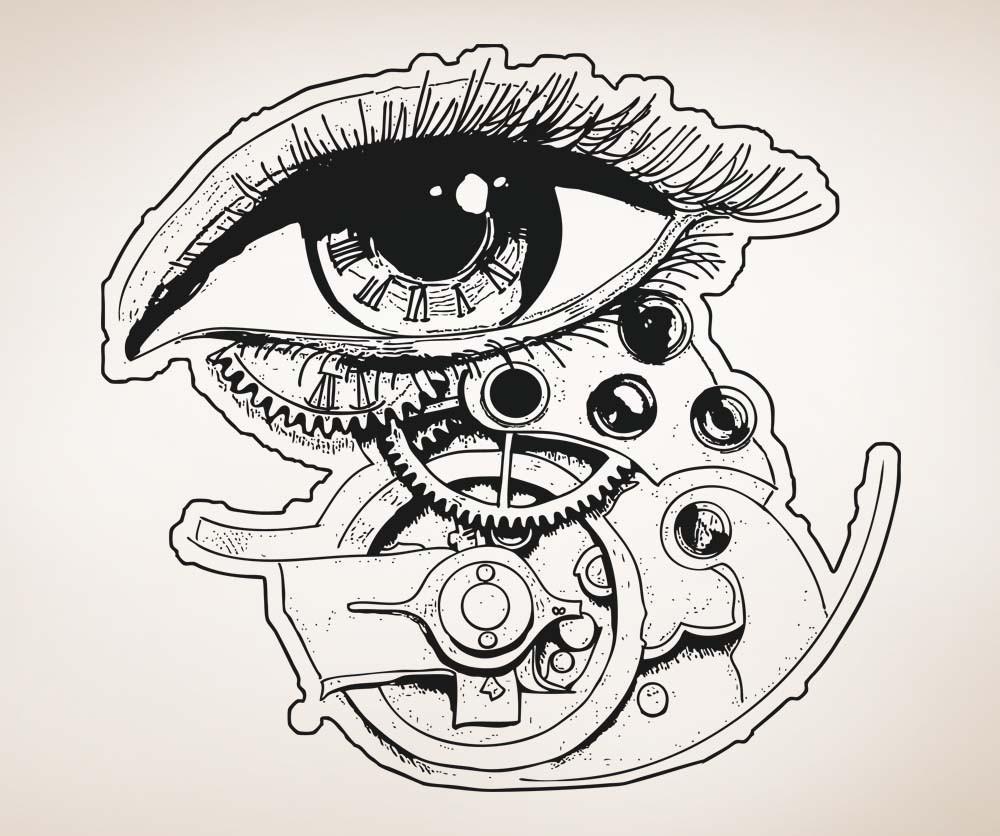 1000x836 Vinyl Wall Decal Sticker Eye Clock With Gears