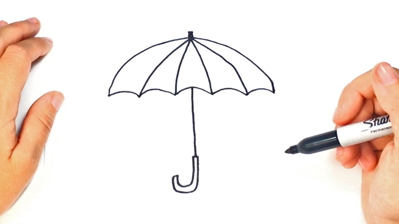 1280x720 How To Draw A Umbrella Step By Step Umbrella Drawing Lesson