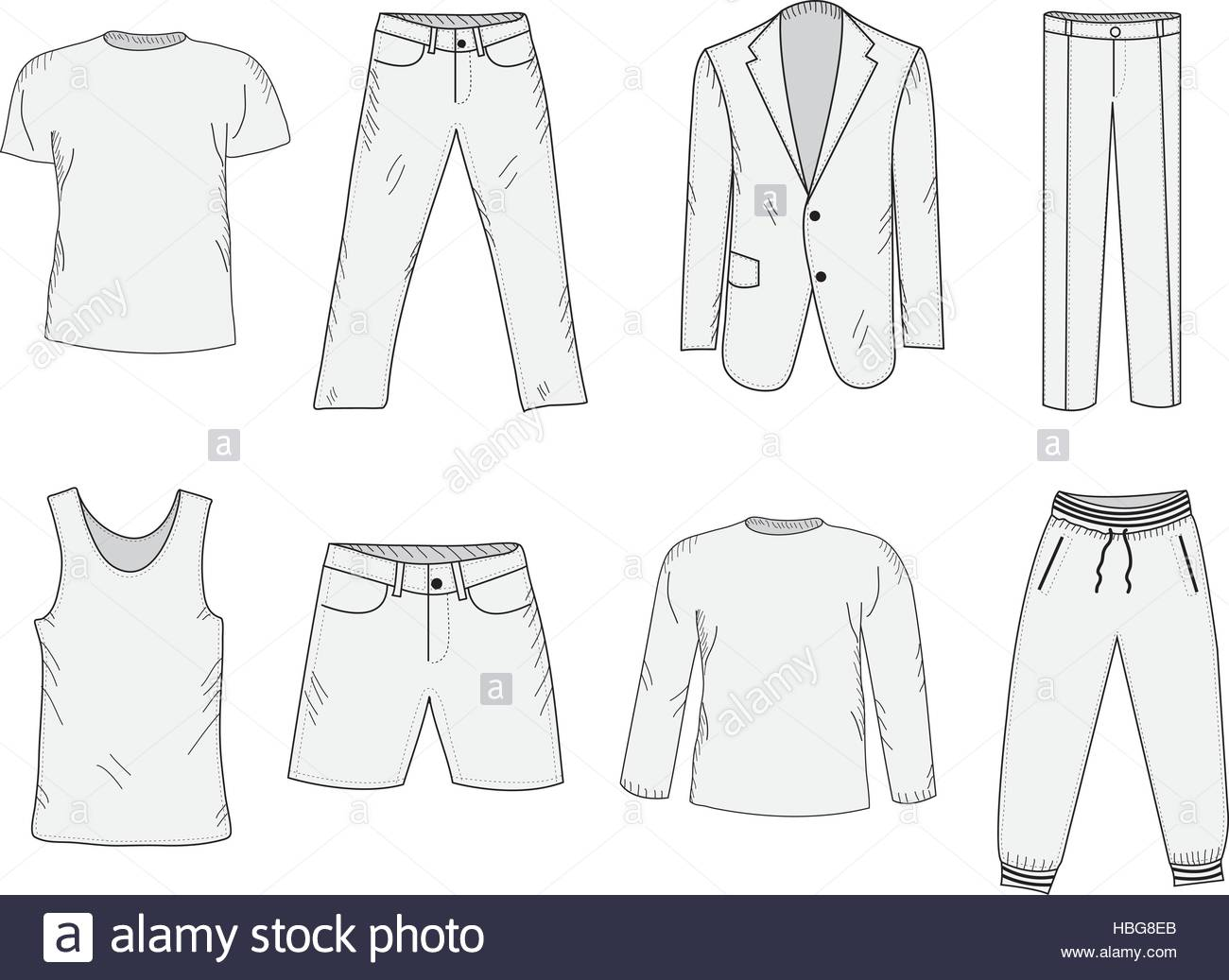 1300x1037 Clothing Set Sketch. Men's Clothes, Hand Drawing Style. Business