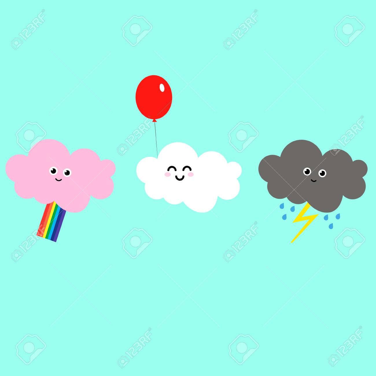 1300x1300 Cartoon Drawing Of Clouds Different Mood Happy Pink