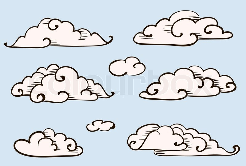 800x540 Clouds Set, Vintage Vector Stylized Drawing Stock Vector Colourbox