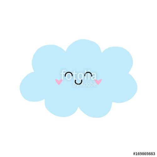 500x500 Cute Cloud Vector Illustration Drawing. Light Blue Cartoon Cloud