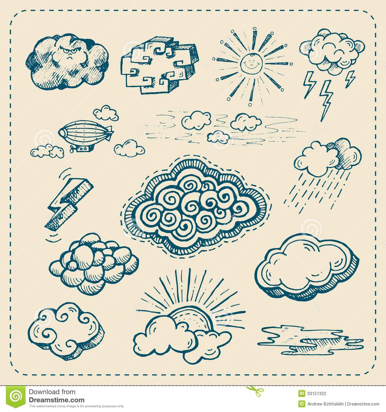 1300x1390 Vector Collection Of Hand Drawn Cloud Icons Stock Photography