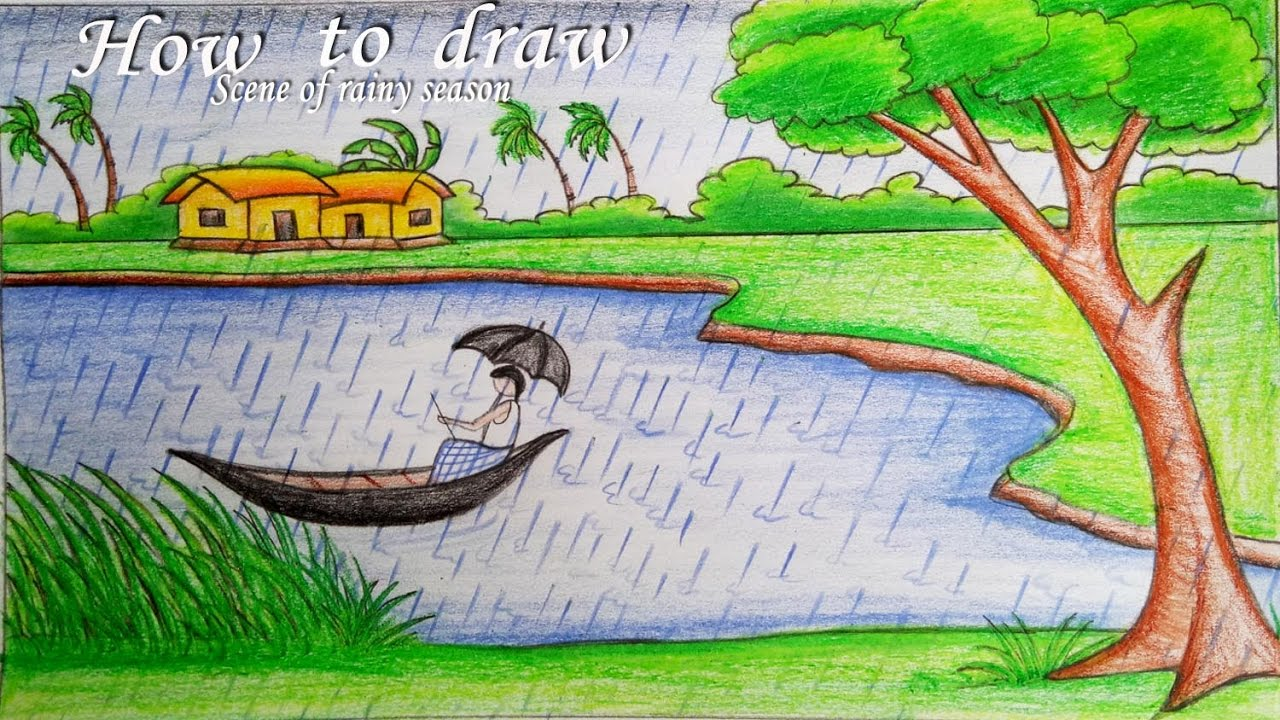 1280x720 How To Draw A Scenery Of Rainy Season Step By Step (Very Easy