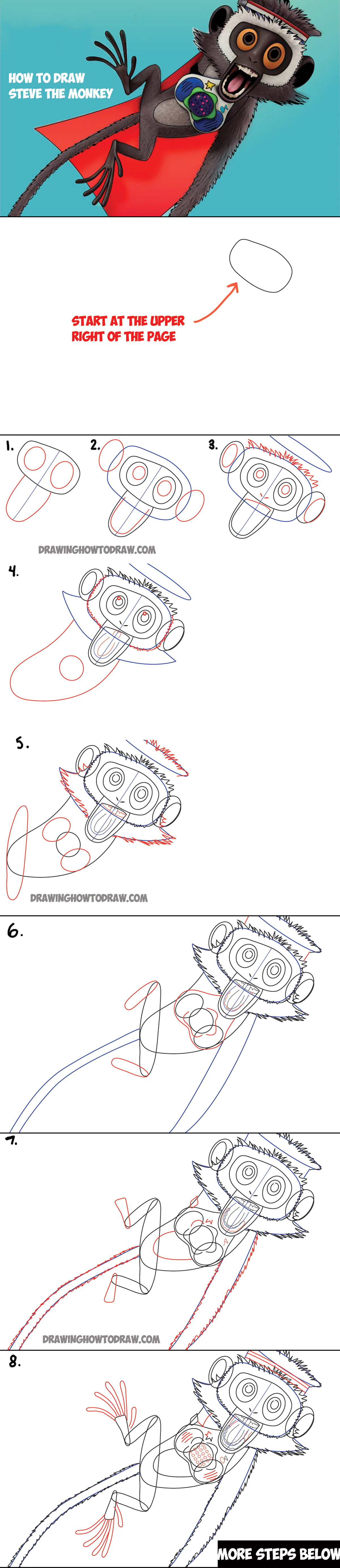 1200x5522 How To Draw Steve The Monkey From Cloudy With The Chance