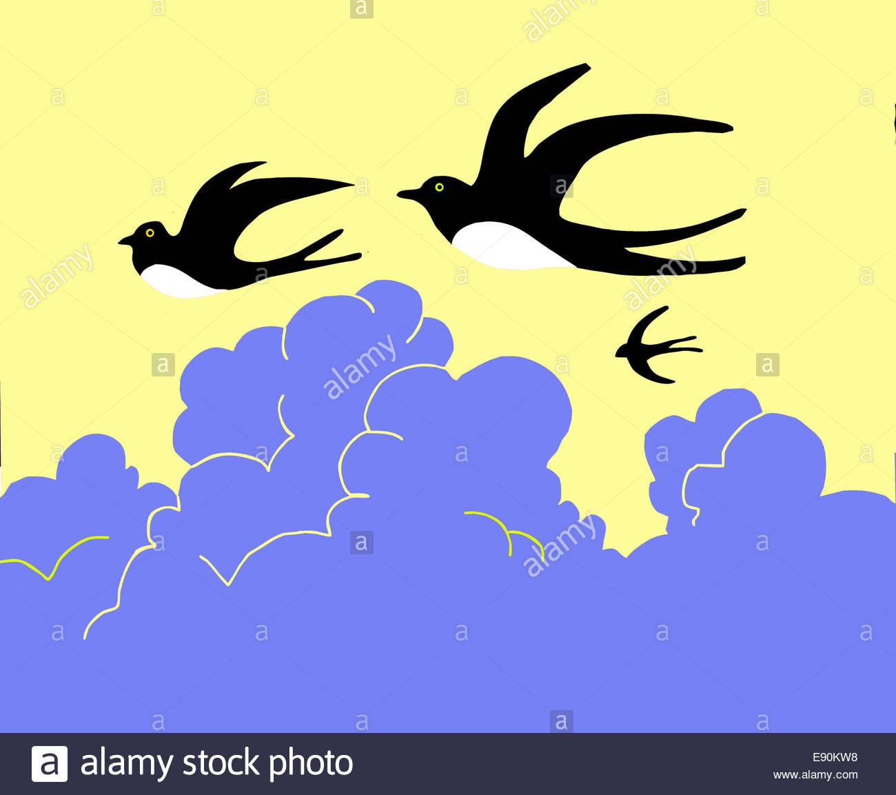 1300x1153 Drawing Swallow Flying To Cloudy Sky Stock Photo, Royalty Free