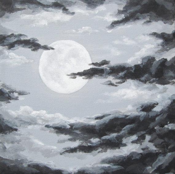 570x568 Original Night Sky Painting, Moon And Clouds, Cloudy Night Sky Art
