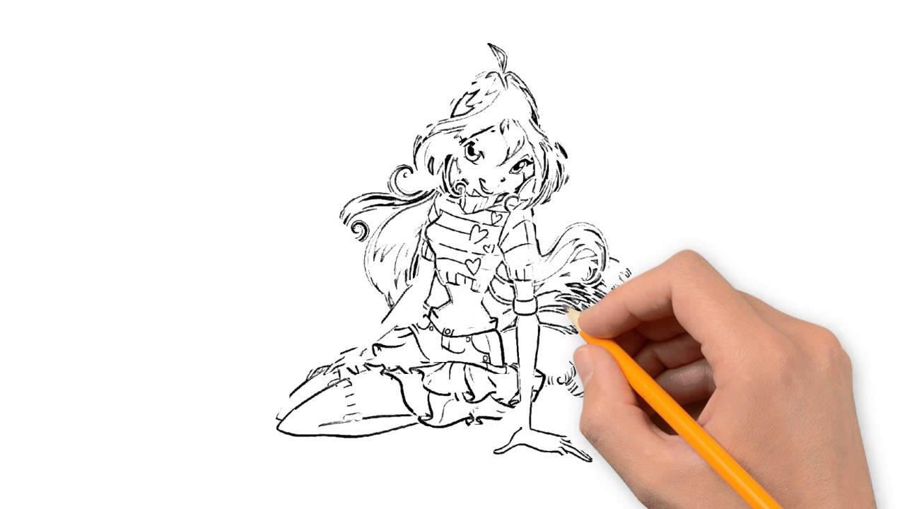 1280x720 Winx Bloom Winx Club Pencil To Draw Step By Step
