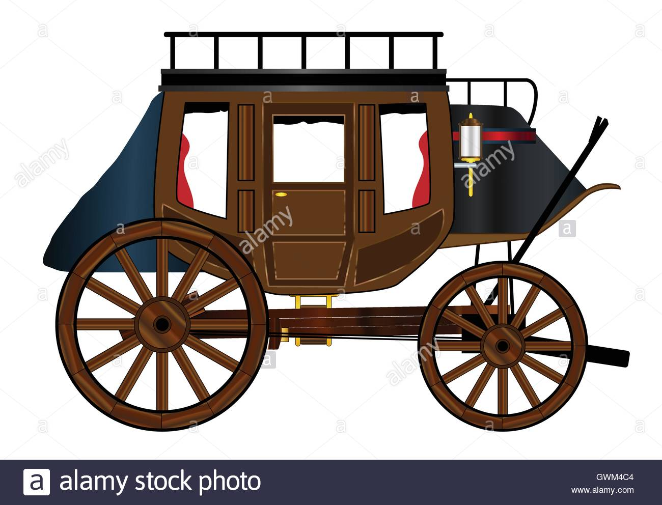 1300x992 A Typical Western Stage Coach Drawing Over A White Background