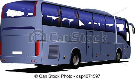 450x264 Blue Tourist Bus. Coach. Vector Illustration For Designers Vectors